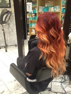 Red to orange to peach ombre with extensions