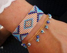 Turquoise Bead Loom Bracelet  Boho Bracelet  Evil Eye Bracelet by minifabo