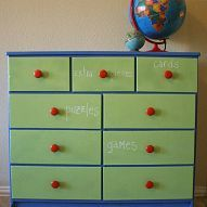 A Game Dresser with Chalkboard Drawers (Using Clear Chalkboard Coating)