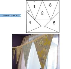 """DIY - Paper Bunting Step-by-Step Tutorial with Template to get 5x 7.75"""" x 6"""" triangles on a 12"""" x 12"""" paper. Guirlande fanions en papier!"""