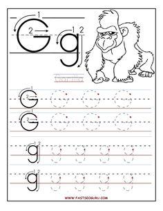 worksheets for preschoolers | Printable letter G tracing worksheets for preschool