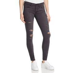 Frame Le Skinny Satine Rip Jeans in St. Quintin Shred ($112) ❤ liked on Polyvore featuring jeans, stquintin shred, skinny fit jeans, destroyed skinny jeans, skinny jeans, super skinny jeans and denim skinny jeans