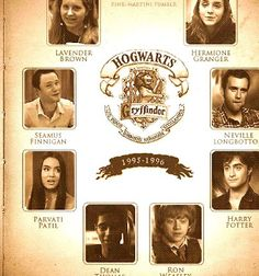 Gryffindor Yearbook Lavander Brown Hermione Granger Seamus Finnigan Neville Longbottom Parvati Patil Harry Potter Dean Thomas Ron Weasley