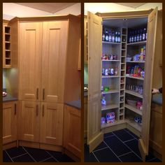 Concealed walk in pantry with LED lights.   This would be great, but it  would sacrifice a lot of worktop space.   Wickes Kitchen