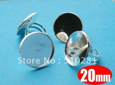 Free Ship! 200pcs/lot with 20mm Round Pad Silver Plated Adjustable Ring Base Blank Findings Cabochon Cameo Setting $87.29