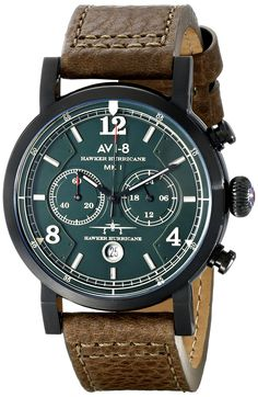 """AVI-8 Men's AV-4015-04 """"Hawker Hurricane"""" Stainless Steel Watch with Brown Leather Band"""