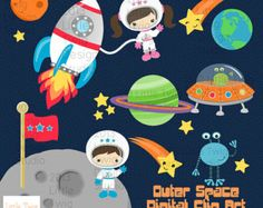 Outer Space Astronauts Kids Children Digital by JandGDesignStudio Clipart Baby, Outer Space Theme, Space Drawings, Alien Spaceship, Astronauts In Space, Clip Art, Children Images, Kids Prints, Art Design