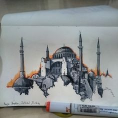hagia sophia, istanbul of dopeness😗 Architecture Journal, Architecture Drawing Art, Islamic Art Canvas, Islamic Paintings, Abstract Watercolor Art, Abstract City, Sainte Sophie, Turkish Art, Hagia Sophia