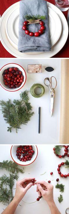 DIY Mini Cranberry Wreath Place Cards | Click for 30 DIY Christmas Table Centerpiece Ideas | DIY Christmas Table Decoration Ideas