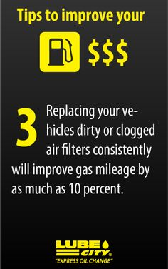 Replacing your vehicles dirty or clogged air filters consistently will improve gas mileage by as much as 10 percent. http://www.lubecity.ca/