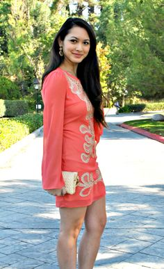 Coral and Beige Cocktail dress with lace, crochet detailing