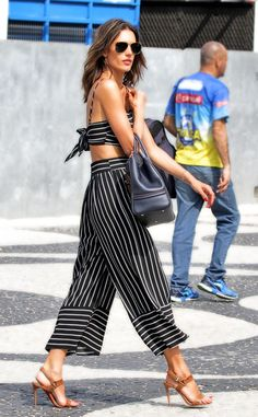 """Alessandra Ambrosio from The Big Picture: Today's Hot Pics  The """"tall, tan, young and lovely"""" Brazilian supermodel heads to the Today Show in a stunning striped ensemble."""