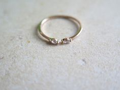 Delicate Sterlig silver Adjustable CZ Ring / Round cz open ring / Dainty CZ ring / Dual Silver Ring / 925 simple silver ring by thinlight on Etsy