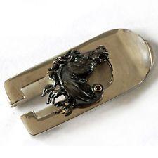 Horse Head Sterling Silver 925 & 14k gold black diamond Money Clip ma... Lot 802