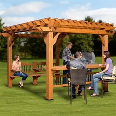 Spend quality time entertaining beneath the Oasis Pergola by Backyard Discovery. The extra-large dimensions allow plenty of room for folks to congregate. Bench seating on one side accommodates four adults. Bar table on the other side is the perfect height for serving your favorite beverages. Heavy duty cedar posts and double-joists make the Oasis stable and sturdy. Post bottom design allows various anchoring methods. The Oasis pergola is made from 100% cedar.