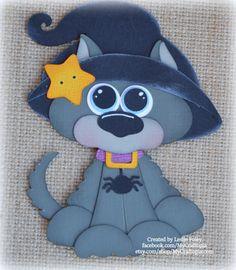 Conjunto negro gato Halloween Premade Scrapbooking adorno