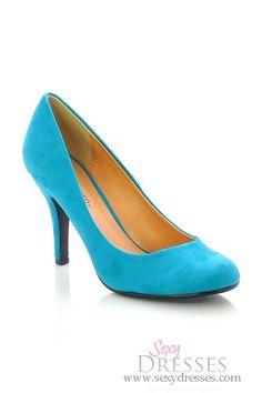 Utopia Teal Blue Suede Mid Low Heel Shoe