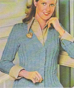 Tricot e Croche Passo a Passo Receitas: Casaco feminino canelado em tricô.