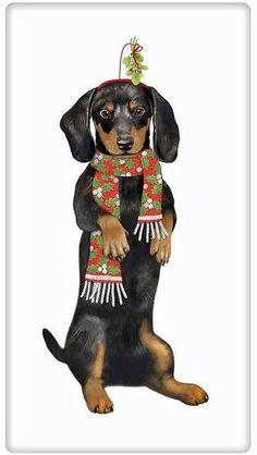 Winter Black and Tan Dachshund Dog 100% Cotton Flour Sack Dish Towel Tea Towel