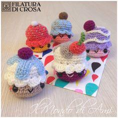 Portachiavi cupcake #amigurumi #handmade #crochet realizzati con filato Zara e microfibra Filatura di Crosa