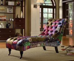 ANNA SCROLL CHESTERFIELD LUXURY PATCHWORK FABRIC CHAISE LOUNGE