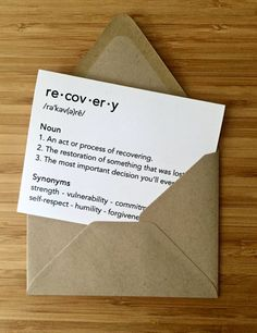 Recovery Card & Sobriety Card for anyone getting sober, overcoming addiction, in rehab, narcotics anonymous, alcoholics anonymous.