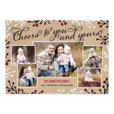 Cheerful Collage Holiday Custom Photo Card