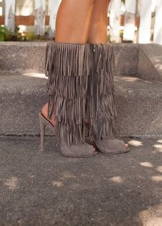 Online boutique. Best outfits. Keeping Me On My Toes Fringe Heels Boots in Taupe - Modern Vintage Boutique