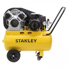 Stanley 50L Belt Drive Air Compressor, 2.5hp,  2 Year Warranty. The Stanley 2.5HP 50L Belt Drive V-Twin Air Compressor is suitable for the majority of jobs around the home and the trade. It delivers a powerful 210L/min free air delivery at 145PSI making it ideal for tradies and home handyman alike. Chainsaw Sharpener, Belt Drive, Air Compressor, Power Tools, Outdoor Power Equipment, Nba, Twin, Delivery, Good Things