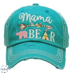 Mama Bear Turquoise Embroidered Distressed Hat trucker caps are embroidered and have curved bill distressed cap gives it a worn look adjustable tab with mesh back cotton and polyester one size fits most current processing time is 10 days Vintage Baseball Hats, Mermaid Mugs, Distressed Baseball Cap, Best Basketball Shoes, Embroidered Gifts, Head Wrap Headband, Girls Boutique, Boutique Clothing, Day Bag