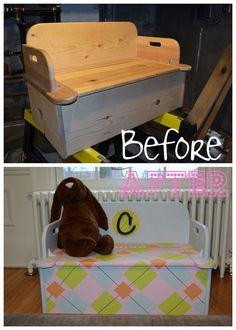 DIY Argyle Toy Chest Bench