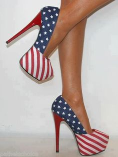 36c211ae92b Ladies american flag concealed platform court shoe stiletto high heels prom  3-8