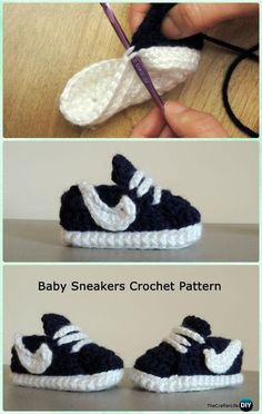 Crochet Nike Style Baby Sneaker Booties Free Pattern - Crochet Baby Booties Slippers Free Pattern' Crochet Baby Booties Slippers Free Patterns: Crochet Baby Booties Slippers for Spring and Crib Walkers, Easy Quick Crochet Gifts for Baby girl and boy Crochet Baby Clothes, Crochet Baby Shoes, Crochet Slippers, Love Crochet, Crochet For Kids, Baby Blanket Crochet, Knit Crochet, Booties Crochet, Crochet Ideas