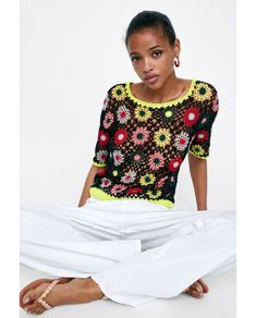 Imagen 4 de JERSEY CROCHET MULTICOLOR de Zara Moda Crochet, Knit Crochet, Crochet Clothes, Diy Clothes, Crochet Woman, Crochet Cardigan, Crochet Fashion, Knitting Designs, Clothing Patterns