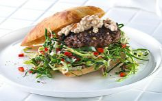 Burger in a healthy way - Spicy steak, cottage cheese and cabbage salad. ... Amazing taste!