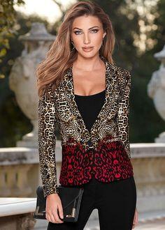 Front view Leopard Multi Color Blazer