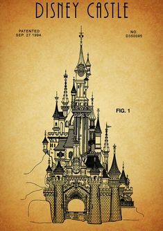 Cinderella Castle Patent Art Print by Dan Sproul. All prints are professionally printed, packaged, and shipped within 3 - 4 business days. Cinderella Drawing, Cinderella Castle, Walt Disney, Disney Art, Disney Stuff, Haunted House Drawing, Disneyland Paris Castle, 3d Sidewalk Art, Beast's Castle