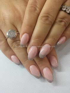 Gel 38 pale pink with silver accents Technician:Elaine Moore