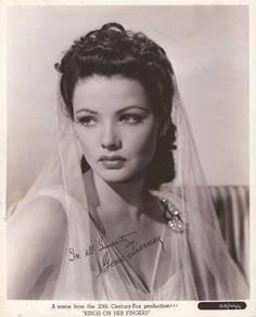 Gene Tierney, named the most beautiful woman in the world, in her time, and one of my idols! She suffered from bi-polar and she spoke out against the stigmas attached to the bi-polar diagnosis. Hollywood Icons, Old Hollywood Glamour, Golden Age Of Hollywood, Vintage Glamour, Vintage Hollywood, Hollywood Stars, Vintage Beauty, Hollywood Actresses, Classic Hollywood