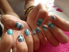 Mint Aztec Nails