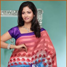 Peach and Light Blue Brasso Saree with Blouse
