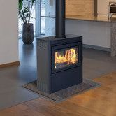 Features:  -The Vision is the industry's first and only see-through wood burning stove.  -The combustion is regulated by a patented air control which provides automatic means to gradually reduce the c