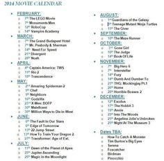 Important Movie Dates To Remember 2014.  CAN NOT WAIT FOR the hunger games: mockingjay part 1 :)