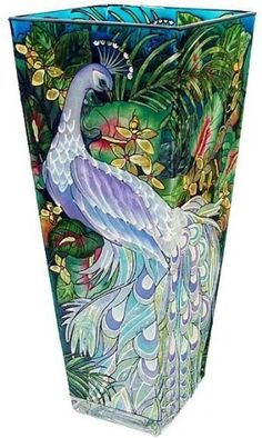 Hand-painted glass vase featuring a peacock design by Amia