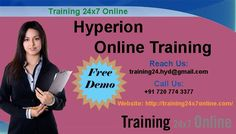 Hyperion Online Training @ Training24x7Online  http://training24x7online.com/courses/data-warehouse/hyperion-online-training.html  REACH US : +91 720 774 3377 / training24.hyd@gmail.com  #Training24x7online is one of the best Global #OnlineTraining Portal for the students. We are providing #Hyperion Online Training based on specific needs of the learners especially we will give innovative one to one classes which have great opportunities in the present #IT #market.