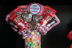 """You will buy many types of valentine candies for your sons, sister sons or other kids in the family, but you will include your baby """"i mean you girl"""". Valentine Gift Baskets, Valentines Mugs, Happy Valentines Day, Valentine Gifts, Valentine Ideas, Candy Bar Bouquet, Valentine Bouquet, Diy Bouquet, Bouquets"""