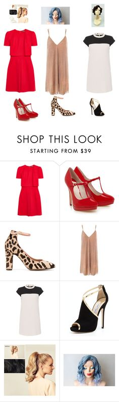 """""""Untitled #3378"""" by aurorazoejadefleurbiancasarah ❤ liked on Polyvore featuring Alexander McQueen, L'Autre Chose, Sans Souci, Paule Ka, Jimmy Choo and Hershesons"""