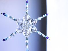 Beaded Snowflake Ornament  Clear Glass Home Decor   by MapleApple, $14.99