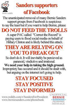 An important message for facebook users.  Don't Feed The Trolls. #BernieSanders #FeelTheBern #MillionDollarTroll