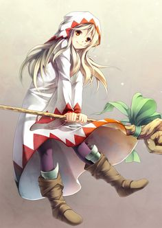 boots brown_eyes final_fantasy final_fantasy_tactics highres pantyhose smile staff white_mage white_mage_(fft) yoshino_ryou